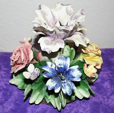 """Vintage Capodimonte Floral Centerpiece Various Flowers 6"""" Tall  6 1/2"""" Wide"""