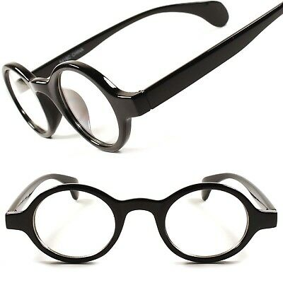 Classic Vintage Retro Hippie Mens Womens Clear Lens Eye Glasses Round Frame E34A