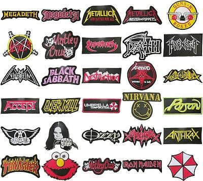 Music Songs Heavy Metal Punk Rock Band Logo L-W T-Shirts Sew on Patches Badge