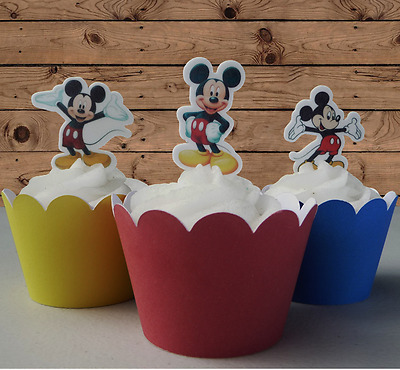 mickey mouse EDIBLE wafer stand up cupcake cake toppers birthday PRE-CUT
