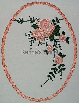 Peach Rose Floral Spray Quilt Label Custom made for quilt tops or blocks
