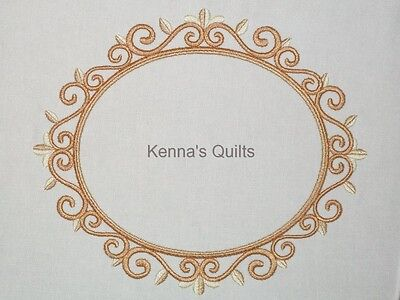 Golden Scroll Frame embroidered Quilt Label Custom made for quilt tops or blocks