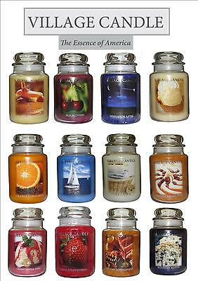 Village Candle Large 26oz Jar Double Wick Candle Christmas Fragrances Available.