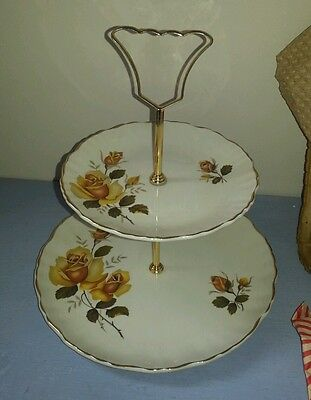 OLD FOLEY GOLD ROSE TWO TIER CAKE STAND