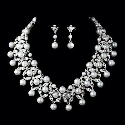 Wedding Bridal Quinceñera Prom Pearl Dress Tiara Necklace Earrings Jewelry Set