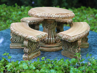 Miniature Dollhouse FAIRY GARDEN Furniture ~ Aged Resin Table & Bench Set  ~ NEW