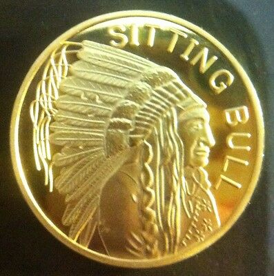 """2010 1/2 OZ """"SITTING BULL"""" Coin Finished with 999 24 Karat Gold"""