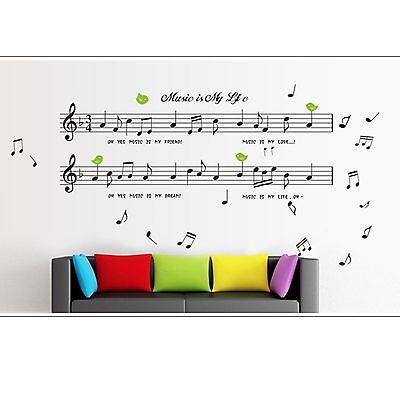 Music Stuff Removable Room Vinyl Decal Art Wall Home Decor Kids Stickers Mural