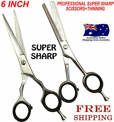 "6"" Professional Hair Cutting + Thinning Scissors Barber Shears Hairdressing Set"