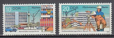 DDR East Germany 1979 ** Mi.2424/25 FDJ-Initiative Berlin | Gebäude Buildings
