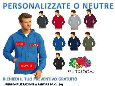 Felpa Uomo Cappuccio E Zip Intera  Leggera Fruit Of The Loom Personalizzabile