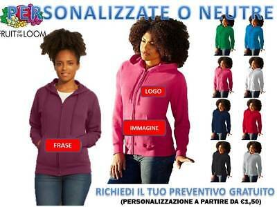 FELPA LEGGERA TUTA CAPPUCCIO e ZIP DONNA FRUIT OF THE LOOM PERSONALIZZABILE