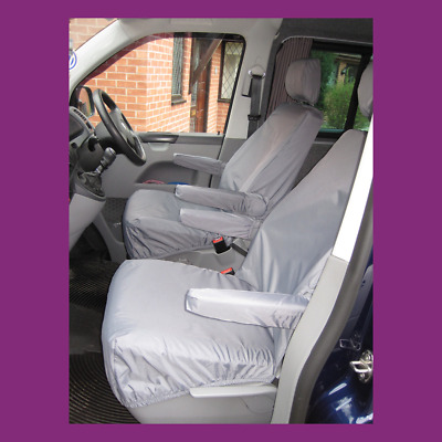 VW Transporter T5 2003-09 Grey Tailored & Waterproof Pair of Single Seat Covers