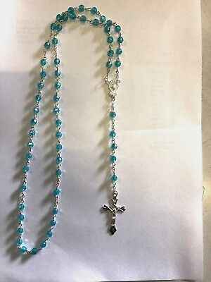 Turquoise Plastic Rosary Round Beads Necklace for Children / Adults Gift Boxed