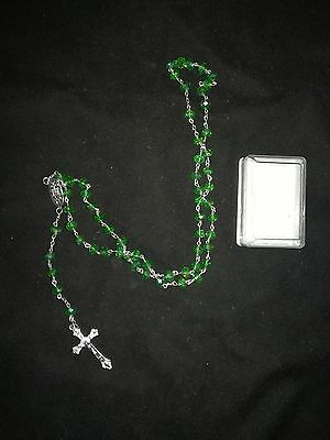 Green Crystal Glass Religious ROSARY Beads Necklace With Crucifix in Gift Box