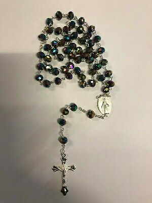 Multi Crystal Glass Religious ROSARY Beads Necklace With Crucifix in Gift Box