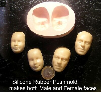 Male & Female Face Flexible Silicone Push Mold For Polymer Clay (Sculpey, Fimo).