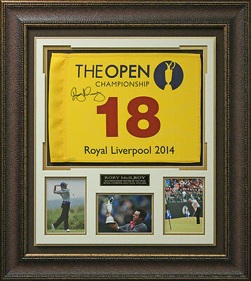 Rory McIlroy Signed 2014 British Open Flag Display.