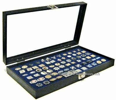 1 Glass Top Lid Blue Cufflinks Display Portable Storage Boxes Case