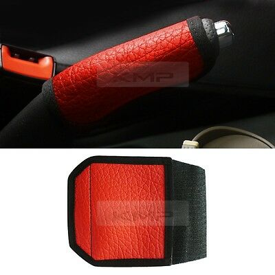 Alll Car Parking Hand Brake Handle leather Cover (Red) for Universal car