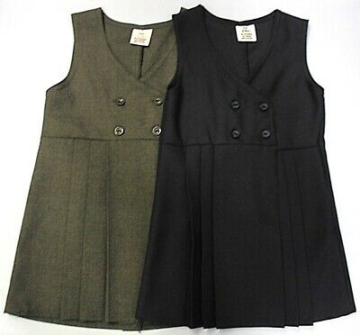 Childrens Girls School Uniform Pinafore Dress Grey Navy Pleated Four Button Up