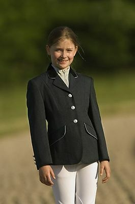 New Equitheme Childs Competition Jacket Gold/Silver Trim Black Navy Brown Grey