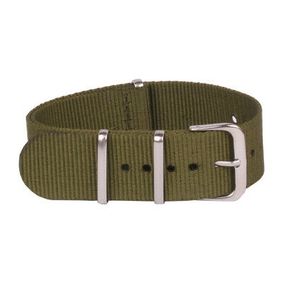 16mm 18mm 20mm 22mm 24mm NATO Army Green  Nylon Watch Strap Wristwatch Bands