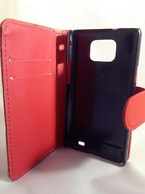 red WALLET Leather Case Phone Cover Samsung Galaxy S2 II GT-I9100 Plain