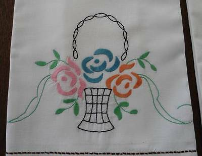 Vintage Pair Cotton Percale Pillowcases Hand Embroidered Flower Baskets Pink