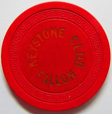 Vintage Nevada Casino Poker Chip $5 Keystone Club Fallon NV. 1947-61