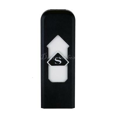 USB Electronic Rechargeable Battery Flameless Cigar Cigarette Lighter Black DX