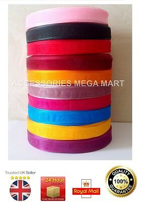 50 Meter Roll Of Sheer Organza Ribbon 12mm half inch wide fast various Colours
