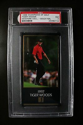 1997/1998 Champions of Golf Tiger Woods Master Collection-Gold Foil PSA 7