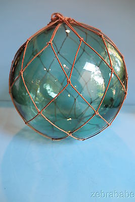"Antique Vintage Glass Japanese Fishing Float Large 12"" SIGNED"