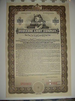1915 Duquesne Light Company Specimen Bond Certificate Stock Pennsylvania