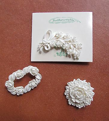 3-Piece Lot 1950s Vintage Featherweights White Carved Colloid Flower Brooch Pins