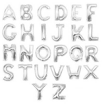 """Birthday Wedding Party Large Foil Helium Silver Alphabet Letter Balloons A-Z 16"""""""