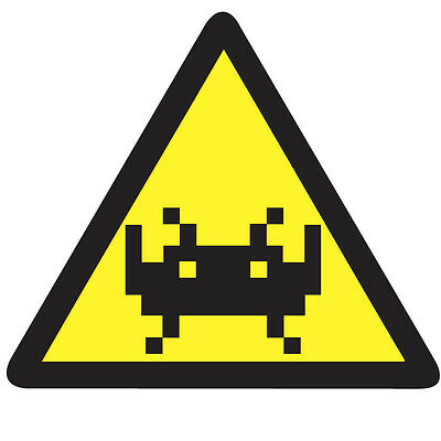 WARNING SPACE INVADERS Middle Sticker - Retro Video Arcade 10cm x 9cm Decal