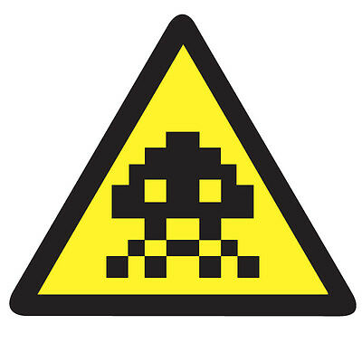 WARNING SPACE INVADERS Top Sticker - Retro Video Arcade 10cm x 9cm Decal