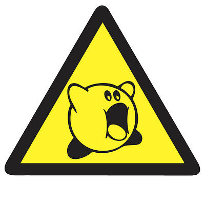 WARNING KIRBY Game Sticker - Retro Video Arcade Gaming 10cm x 9cm Decal