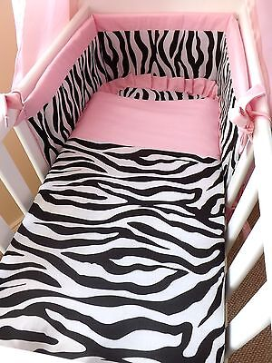 NEW CRIB , CRADLE BEDDING SET, Zebra style , FOR A  BABY GIRL made to order