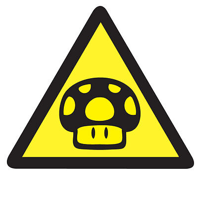 WARNING TOAD Mario Game Sticker - Retro Video Arcade Gaming 10cm x 9cm Decal