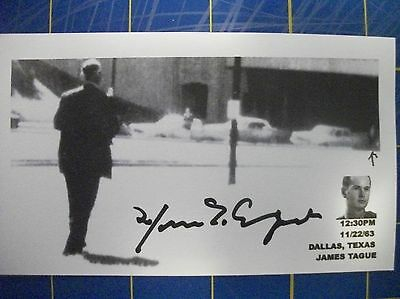 JFK WITNESS  JAMES TAGUE (DECEASED) WOUNDED-RICOCHET BULLET AUTOD 3X5 INDEX CARD