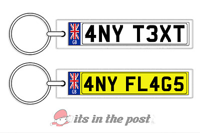 Personalised Gb Number Plate Keyring/Keychain - House Car  Any Flag/Text