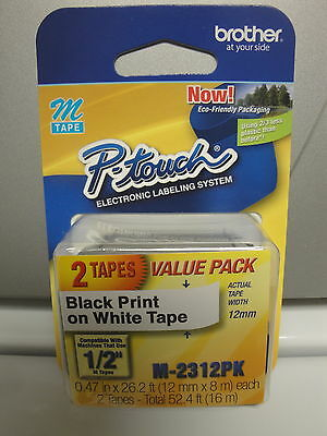 "2 Brother M-231 M 231 Label Cassette  Black Print White Tape 1/2"" Original Oem"