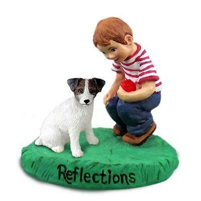Jack Russell Terrier Brown & White w/Rough Coat Reflections w/Boy Figurine
