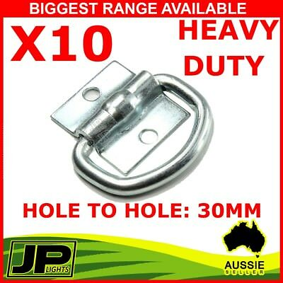 10 X Lashing D Ring Zinc Plated Tie Down Points Trailer Centre Hole To Hole 30Mm