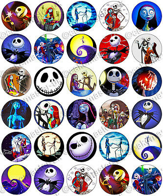 30 x The Nightmare Before Christmas Edible Rice Wafer Paper Cupcake Toppers