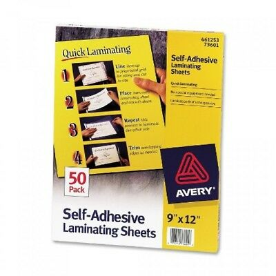 Avery Self-Adhesive Laminating Sheets, 9 x 12 Inches, Box of 50, 73601, New