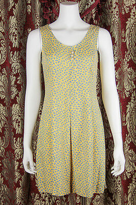 VTG 90s BOHO Yellow *DITSY FLORAL* Rayon GRUNGE Jumpsuit FESTIVAL ROMPER XS